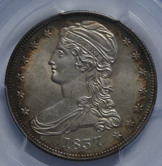 1837 Capped Bust Silver Half Dollar Pcgs Unc Details Scratch Rim Toning photo