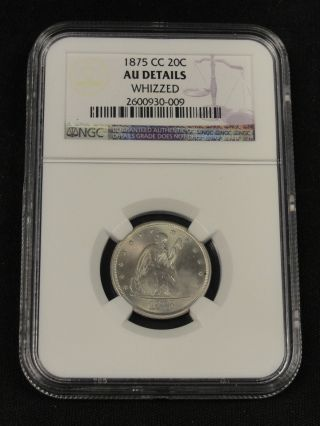 1875 Cc 20 Cent Silver Seated Liberty Coin Ngc Au Details 0 - 009 photo
