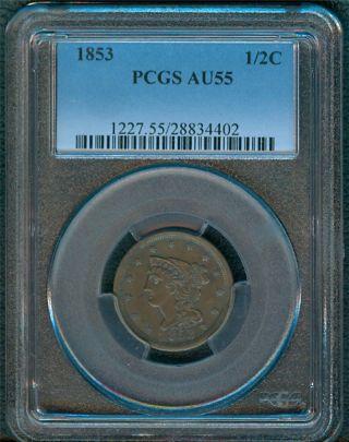 1853 Half Cent Pcgs Au55 photo