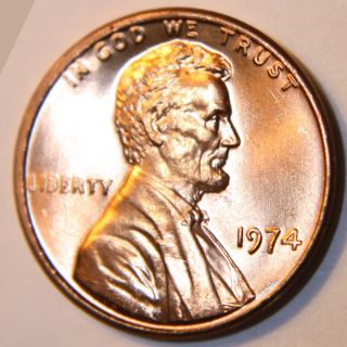1974 Memorial Cent.  An Exceptional Coin.  Will Combine.  [ 7] photo