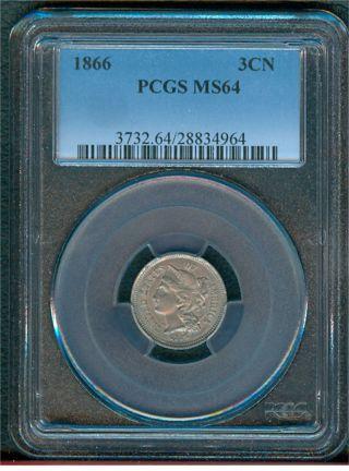 1866 Three Cent Piece Pcgs Ms64 photo