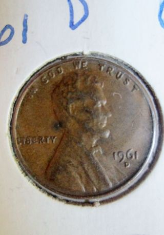 1961 D Usa Penny 1 Cent Coin photo