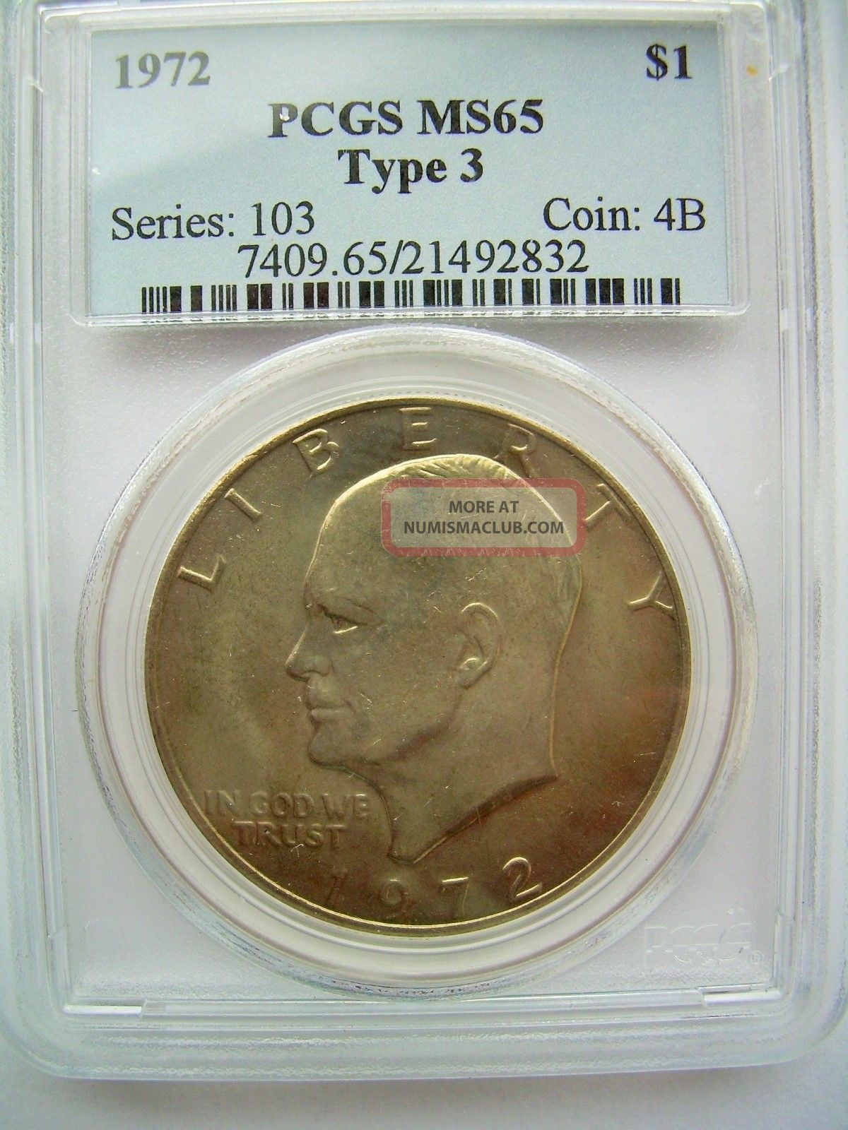 1972 Eisenhower Quot Ike Quot Dollar Pcgs Ms 65 Type 3 Light