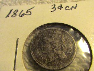 1865 3 Cent Nickel Rare Civil War Era photo