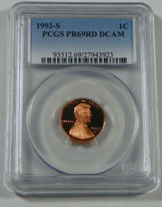 1993 - S Proof Lincoln Cent Penny Pcgs Pr69rd Dcam photo