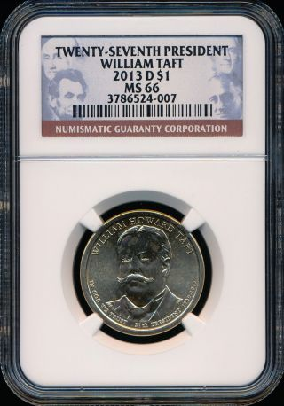 2013 - D William Taft Dollar Ngc Ms66 photo