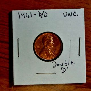 1961 - D/d Double Mark Error Lincoln Cent Rare Us Coin photo