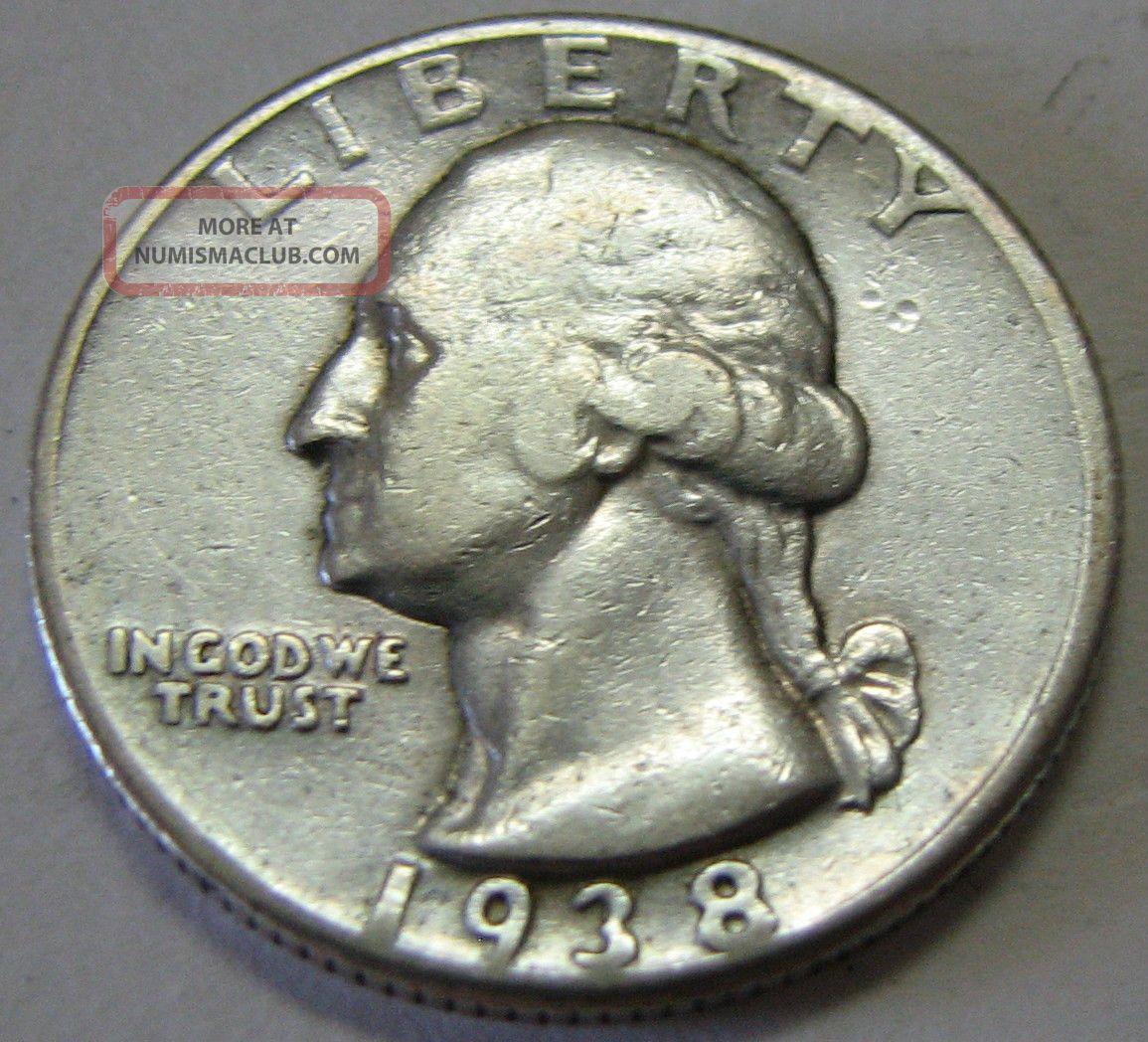 1938 Washington Silver Quarter Coin