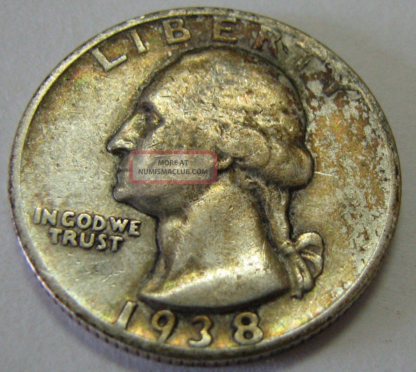 1938 S Washington Silver Quarter Coin