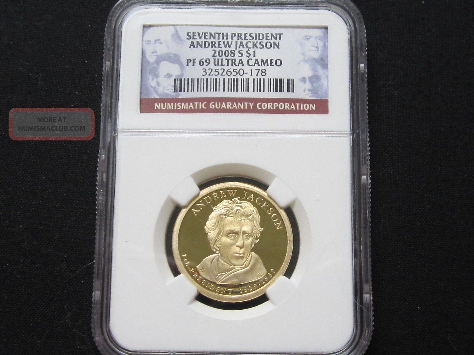 2008 S Proof Andrew Jackson Presidential Dollar - Ngc Pf 69 Ultra Cameo (178) Dollars photo