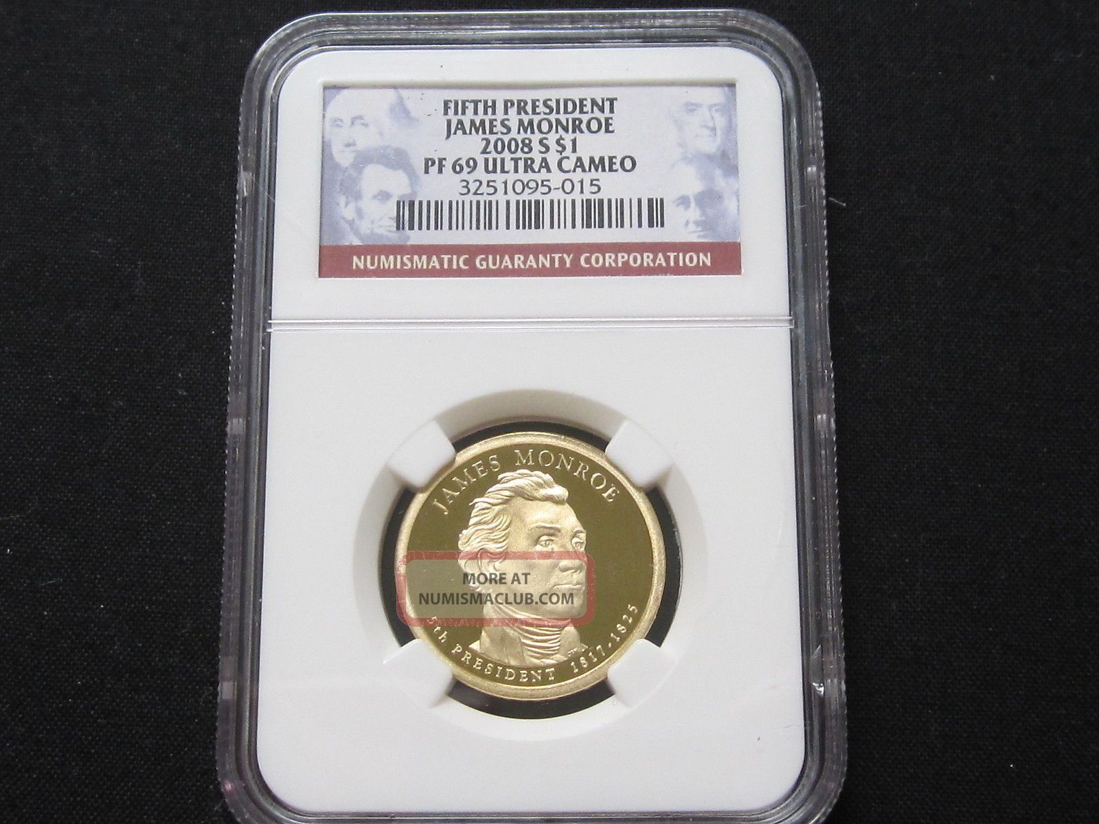 2008 S Proof James Monroe Presidential Dollar - Ngc Pf 69 Ultra Cameo (015) Dollars photo