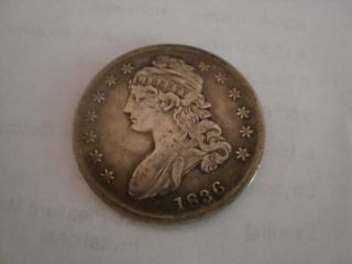 1836 Capped Bust - Lettered Edge Circulated Half Dollar Silver photo