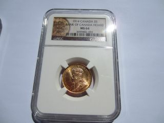 Canada $5.  00 Gold::: 1914 Ngc Ms 64:: : Bank Of Canada Hoard ::extremely Rare photo