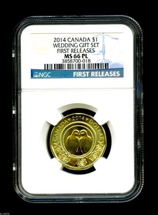 2014 Canada $1 Wedding Ngc Ms66 Pl First Releases Loon Loonie Rare 10,  000 photo