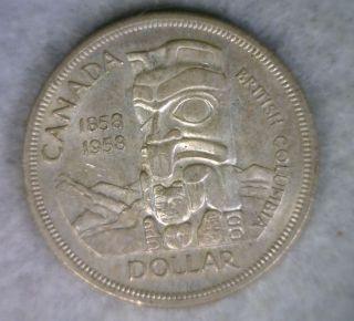 Canada Silver Dollar 1958 Bu Coin (cyber 192) photo