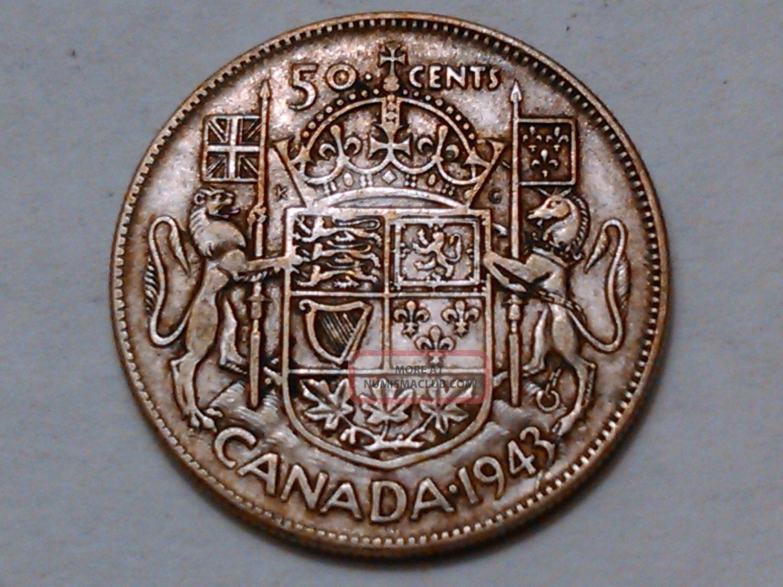 1943 Canada 50 Cents Coin 80 Silver