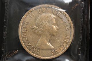 1959 Canada.  1$ Dollar.  Voyageur.  Iccs Graded Au - 55.  (xkf974) photo
