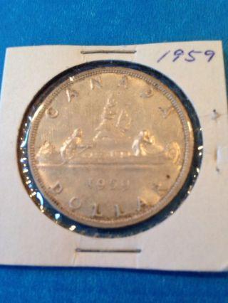 1959 Canada Silver Dollar.  800 Fine Silver photo
