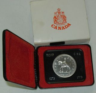 Canada 1973 Rcmp Mountie Silver Dollar In Case photo