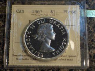 1963 Canada $1 Dollar Pl - 66 Heavy Cameo Iccs photo