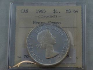 1963 Canada $1 Dollar Heavy Cameo Iccs Ms - 64 photo