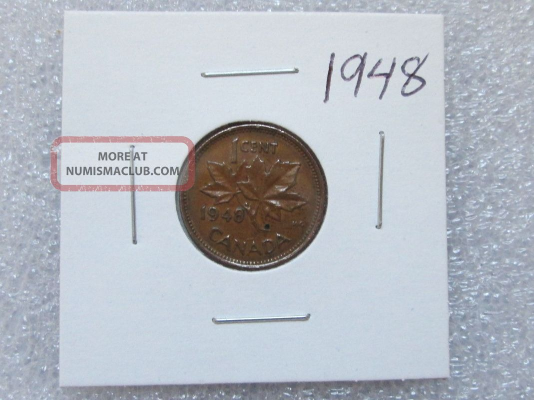 1948 Canadian Penny Coin 1 Cent Coin