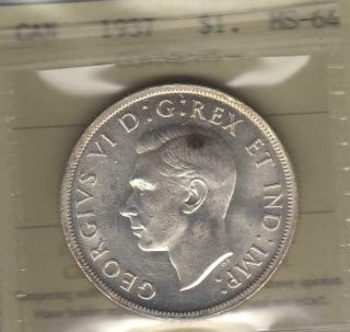 1937 Canada Silver Dollar.  Iccs Ms - 64.  Gem photo
