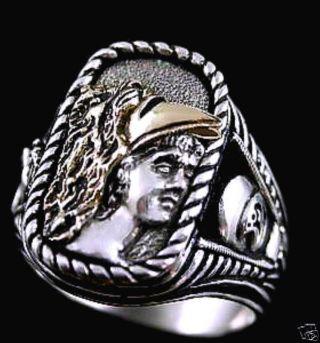Alexander The Great 10 Karat Gold Helmet Ring Ster Silv photo