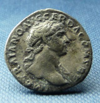 Scarce Trajan Silver Denarius,  Pietas Reverse,  Good Grade photo