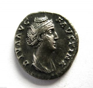 C.  140 A.  D British Found Faustina I Roman Period Imperial Silver Denarius Coin.  Vf photo