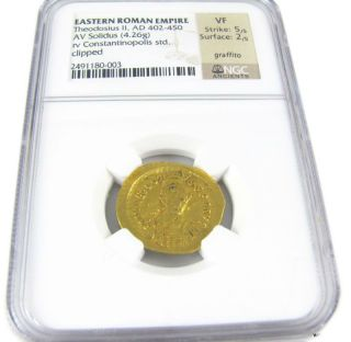 Coin Eastern Roman Empire Theodosius Ii Ngc Graded Vf Investment Ad.  402 - 450 Rare photo
