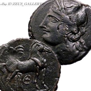 Carthage Large Trishekel Big Æ30mm 2nd Punic War Tanit Horse Ancient Greek Coin photo