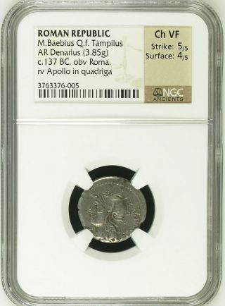 Ngc Roman Republic Silver Denarius,  Baebia /baebius Tampilus Graded Ch Vf photo