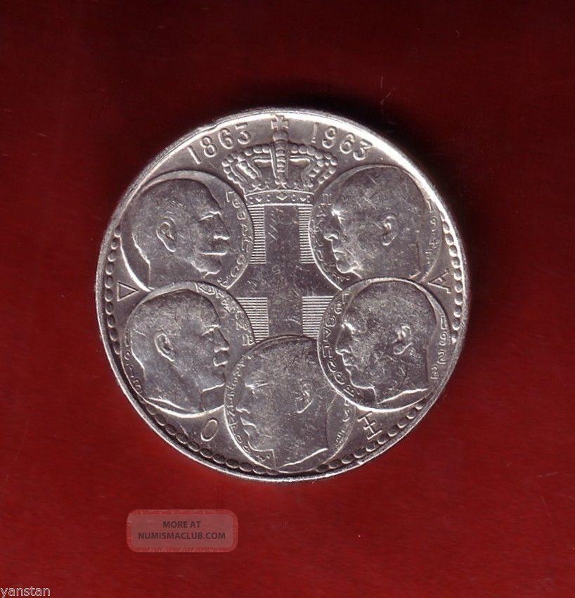 Greece 1863 1963 30 Drachma Silver Coin 5 Kings Dynasty