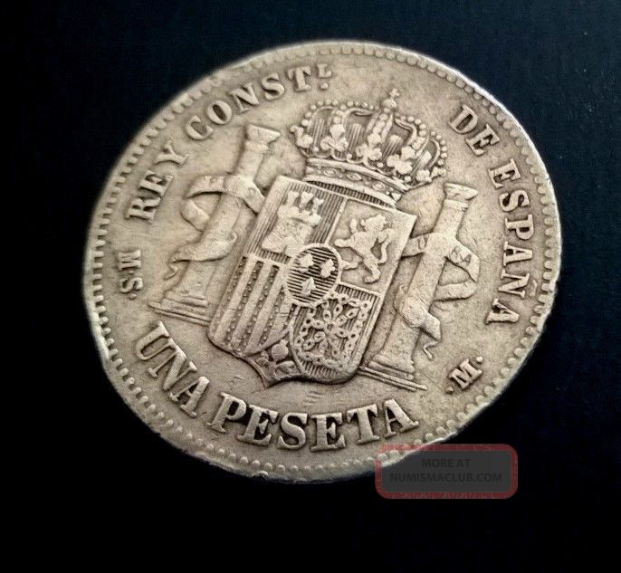 Scarce Silver Una Peseta 1883 Europe photo