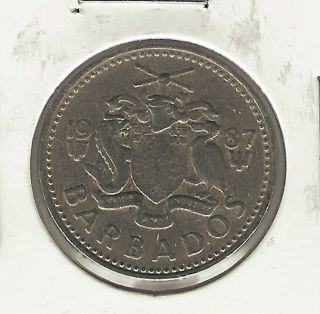 Barbados 25 Cents,  1987 photo