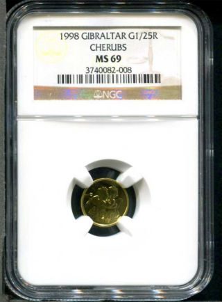 1998 Gibraltar Gold 1/25 Royal Kissing Cherubs Ngc Ms - 69.  999 Fine Gold photo