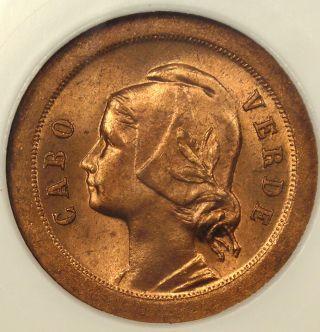 1930 Cape Verde 5c - Ngc Ms65 Rb - Rare Bu Coin photo