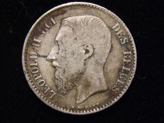 1869 Belgium 1 Franc Silver Coin Fine photo