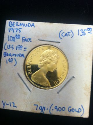 1975 Bermuda $100 Proof 7.  03g.  2034 Oz.  900 Gold Coin Uncirculated photo