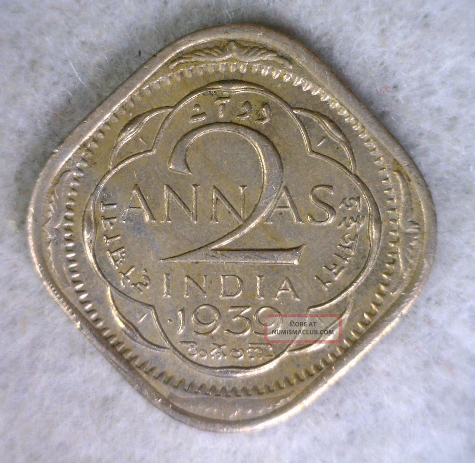 British India 2 Annas 1939 Au Coin Cyber 396