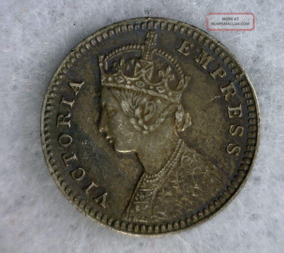British India 2 Annas 1888 Silver Coin Cyber 1152