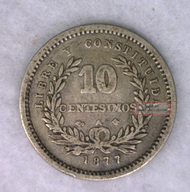 Uruguay 10 Centesimos 1877 Very Fine Silver Coin (cyber 223) South America photo