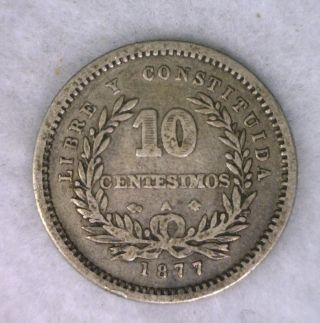 Uruguay 10 Centesimos 1877 Very Fine Silver Coin (cyber 223) photo