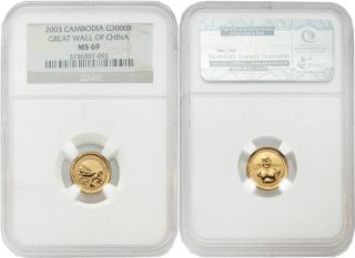Cambodia 2003 Great Wall Of China 3000 Riels 1/25 Oz Gold Ngc Ms69 photo