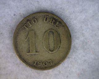 Sweden 10 Ore 1907 Fine Swedish Silver Coin (cyber 728) photo