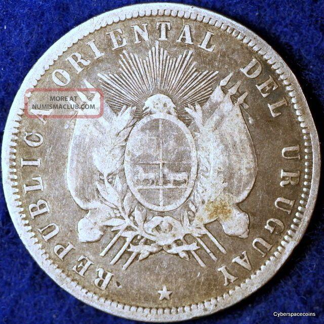 Estate Find 1877 - A Grade Uruguay Km - 16 Fifty Centesimos South America photo