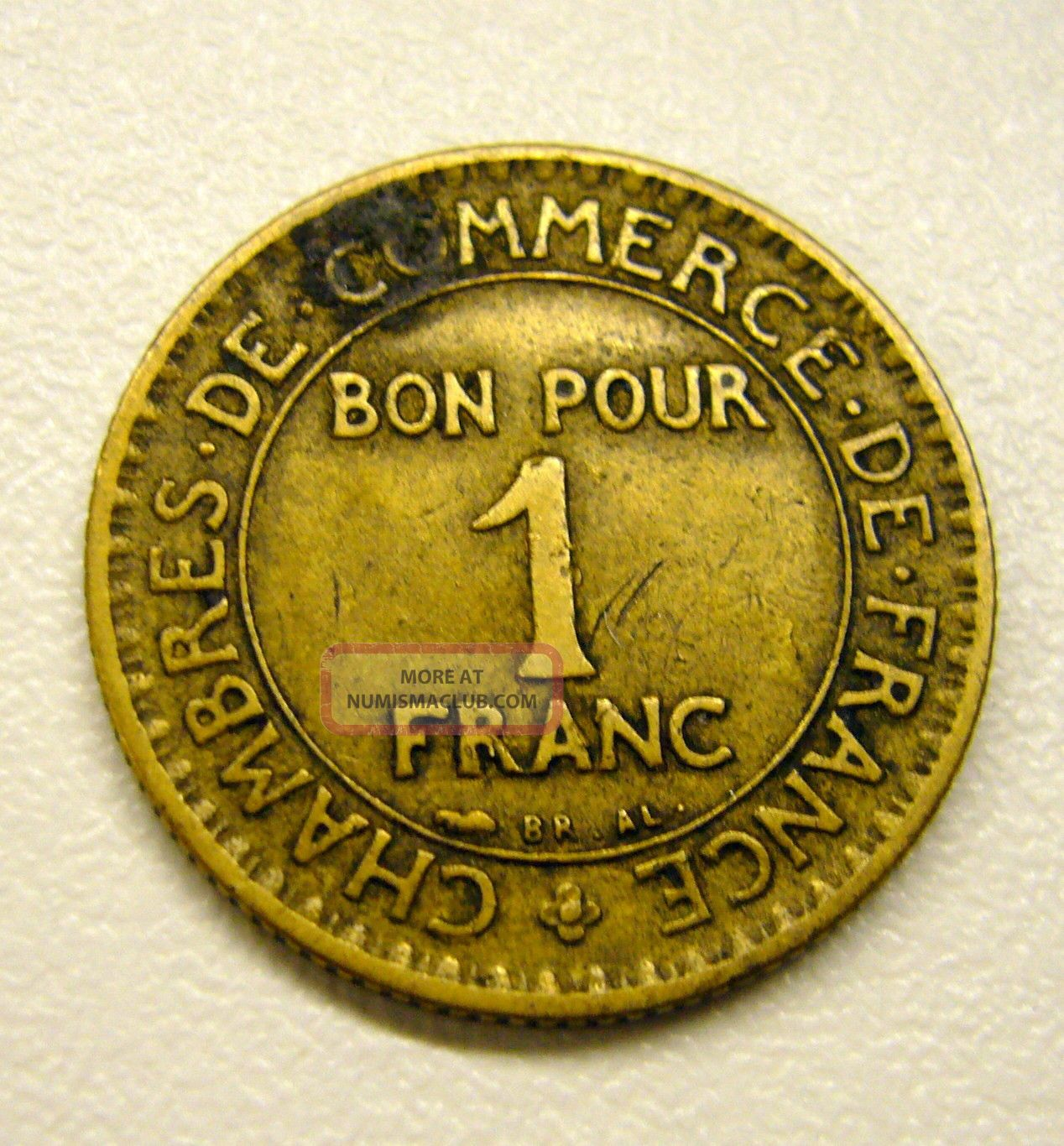 1923 1 franc coin commerce industrie bon pour france for Bon pour 2 francs 1925 chambre commerce