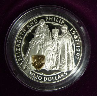 Zealand: 1997 Golden Wedding 50th Anniversary $20 Silver Proof Coin photo