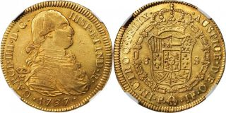 Colombia Charles Iv (1788 - 1808) Gold 1797 - Pjf 8 Escudos Ngc Au50 Km 62.  2 photo